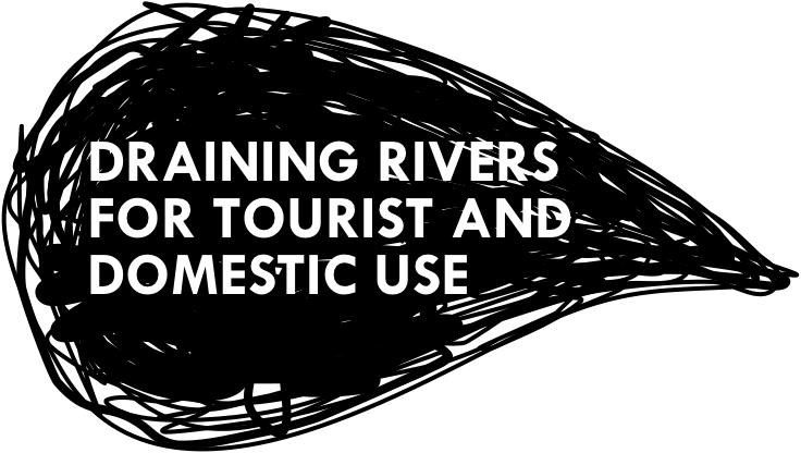 Draining rivers for tourist and domestic use title graphic
